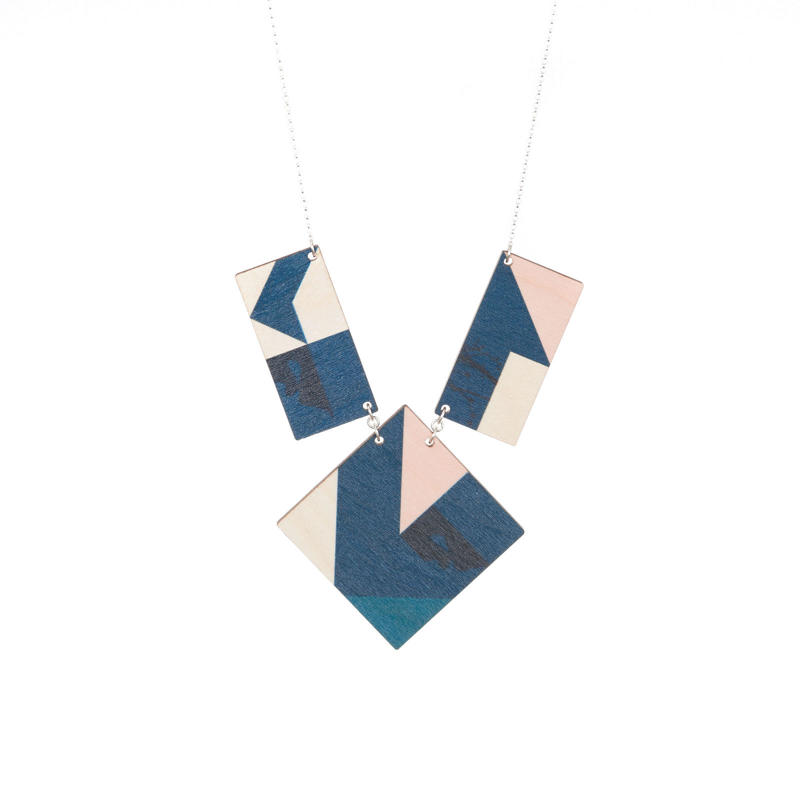 Virta / Rosa petrol blue long necklace 3 parts | Weecos