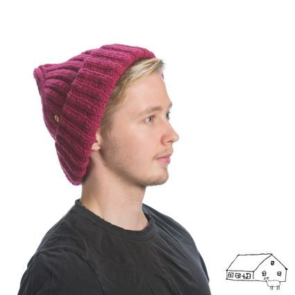 Hand made organic Finnsheep wool beanie, Farmesters - Sukeltaja. 100% naturally dyed. (size XL)