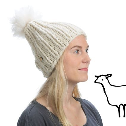 Myssy Luksus - Pihlava. Hand made beanie of the organic Finnsheep wool with the ethical sheep fur pompom.