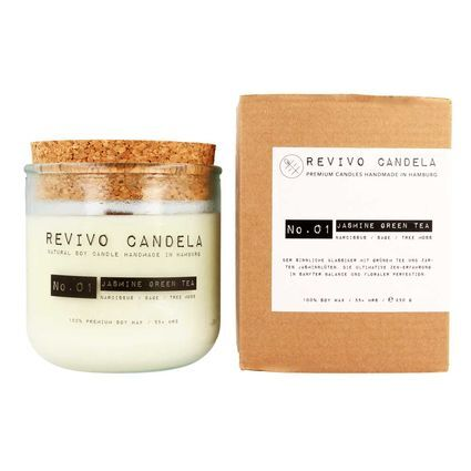 Revivo Candela scented soy wax candle w packaging