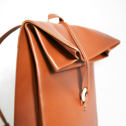 Paper backpack Cognac