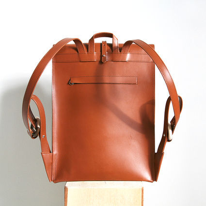 Paper backpack Cognac backside