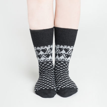 Heart merino wool socks grey