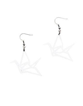 ORIGAMI Swan mini earrings, white