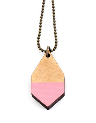 Diamante wooden small necklace