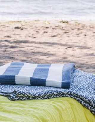 Denim blue-white Drops Blanket