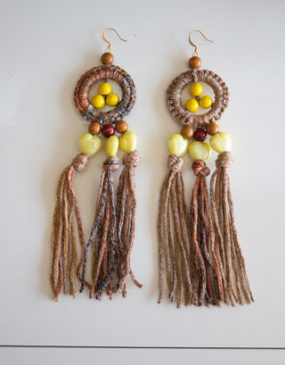Brown-yellow fringe earrings with wooden pearls and wax hearts