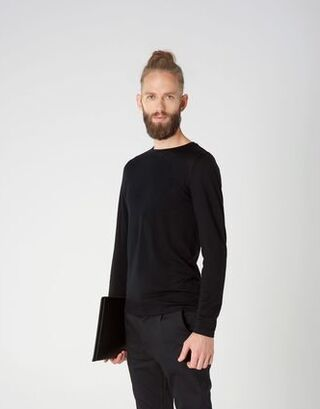 Long-sleeved shirt in black merino