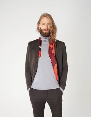 Slim-fit turtleneck sweater in grey merino