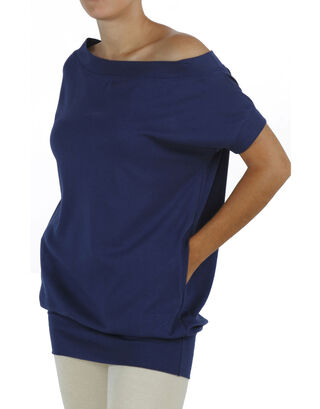 Blue Short Sleeve Drop Neck Maxi Blouse with 2 front pockets