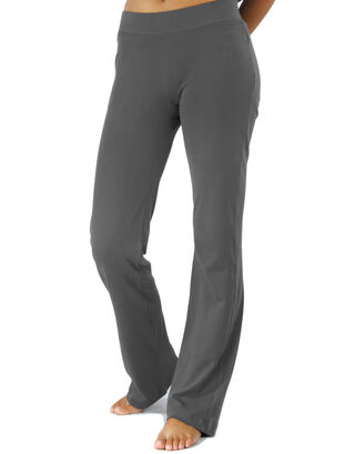 Grey Straight Jersey Pants with Elastic Waistband