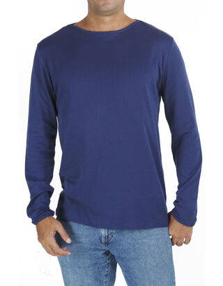 Blue Long Sleeve Boat Neck T Shirt