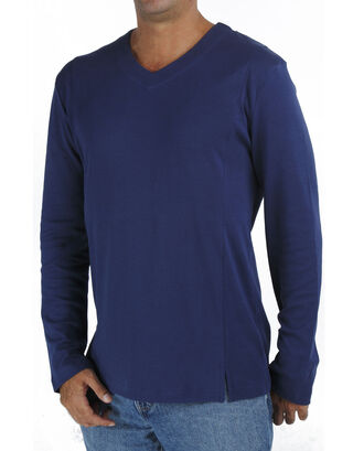 Blue Long Sleeve V Neck T Shirt