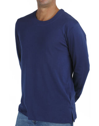 Blue Long Sleeve Round Neck T Shirt.