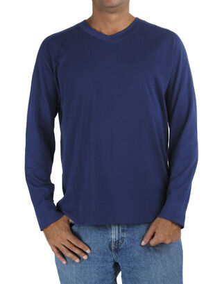 Blue Long Raglan Sleeve V Neck T Shirt