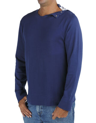 Blue Long Sleeve Round Neck T Shirt with Opening