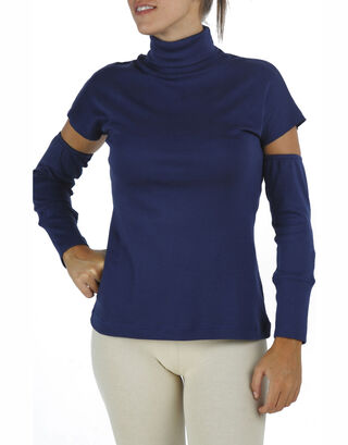 Blue Detached Sleeves Turtle Neck Top